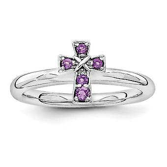 2.25mm 925 Sterling Silver Rhodium verguld Stackable Expressions Rhodium Amethisst Religieuze Geloof Cross Ring Sieraden Cadeau