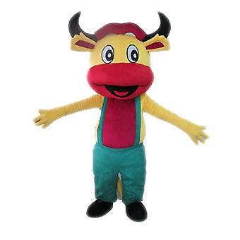 mascot SPOTSOUND of yellow and pink cow with overalls