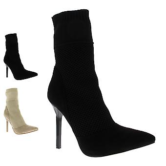 Womens Sock Fit Stiletto Open Toe Ankle High Party Fashion High Heels UK 3-10