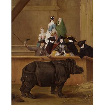 The Rhinoceros,Pietro Longhi,50x40cm