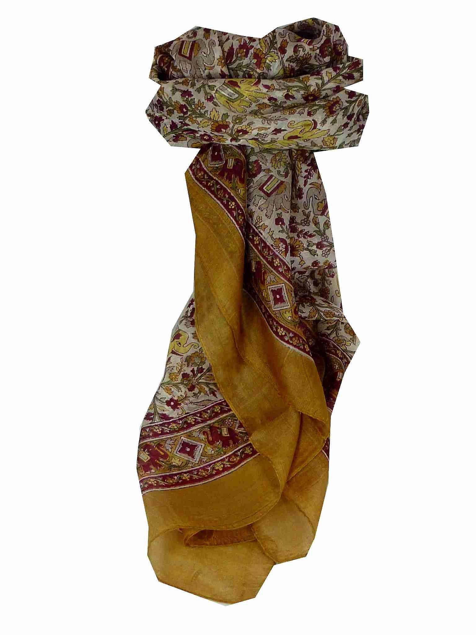 Mulberry Silk Traditional Square Scarf Jaipur Gold by Pashmina & Silk