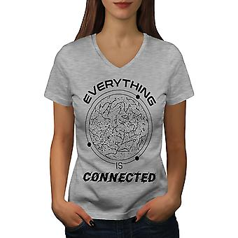 Astronomy Philosophy Women GreyV-Neck T-shirt | Wellcoda