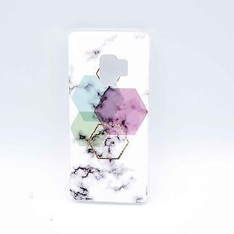 Per Samsung Galaxy S9-sacchetto-bianco marmo Hexagon