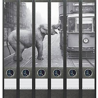 Rugetiket Olifant bij tram in zwart wit 6 etiketten