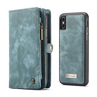 CASEME iPhone X/XS retro Split nahka lompakko kotelo-sininen