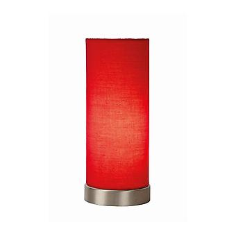 Lucide Tubi Modern Cylinder Cotton Red And Satin Chrome Table Lamp