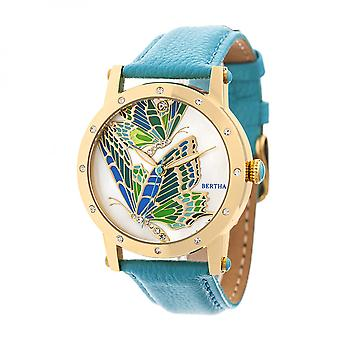 Bertha Isabella MOP Leather-Band Ladies Watch - Gold/Turquoise