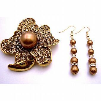 Kupfer Pearl mit Gold Schatten & Gold Spacer Match Brosche Sonnenblume Golden Shadow Kupfer Perlen Holiday Gift
