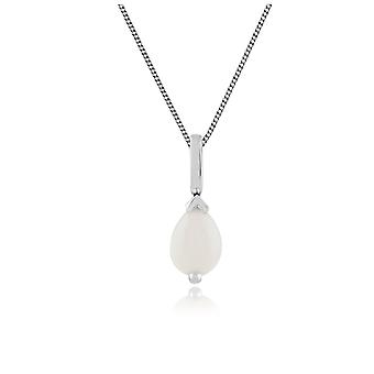 9ct White Gold 0.38ct Pear Cut Opal Single Stone Pendant on Chain