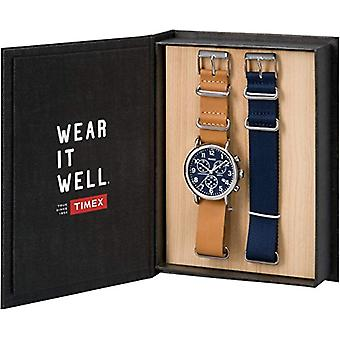 Timex Quarzo מיוניסקס קוורץ הכרונוגרף השעון עם חגורה עור TWG012800