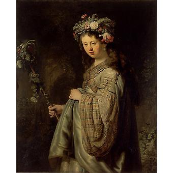 Saskia SA Flora, Rembrandt, 50x40cm