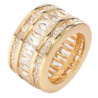 Ah! Jewellery 18kt Gold Filled Wide Ring Princess Cut Simulated Diamonds