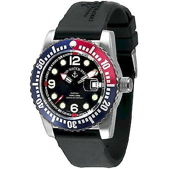 Zeno-watch mens watch - points automatique d'avion plongeur, bleu - rouge - 6349-3-a1-47