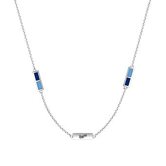 Kansas City Royals Sterling Silver Engraved Triple Station Necklace In Blue & Sky Blue
