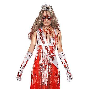Bloody Prom Queen Kit, Carrie, Sash, Gloves & Tiara, Halloween Fancy Dress