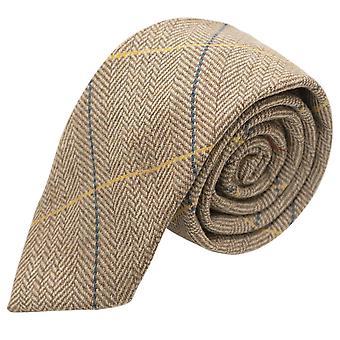 Luxe licht eiken visgraat Check Tie, Tweed