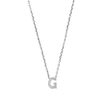 Jewelco London Ladies Rhodium Plated Sterling Silver Letter G Initial Pendant Necklace