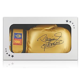 Manny Pacquiao signiert Boxhandschuh, Gold. In Geschenk-Box
