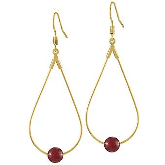 Eternal Collection Eclectic Ruby Red Agate Gold Tone Drop Teardrop Pierced Earrings