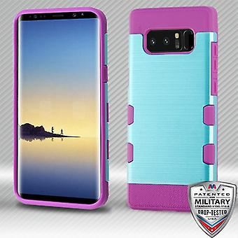 MYBAT Metallic Baby Blue/Electric Purple Brushed TUFF Trooper Hybrid Protector Cover for Galaxy Note 8