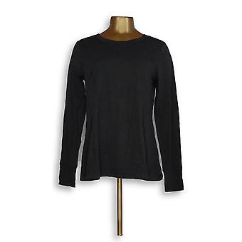 Anybody Women's Top Cozy Knit Relaxed Peplum Black A297312