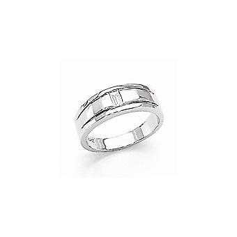 14k oro bianco lucido canale impostato non engraveable mens Diamond ring -.25 dwt - dimensione 10