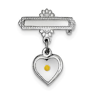 925 Sterling Silver Polished Love Heart With Epoxy MuStard Seed Pin Jewelry Gifts for Women