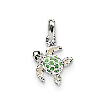 925 Sterling Silver for boys or girls Enameled Sea Turtle Pendant Necklace - .6 Grams