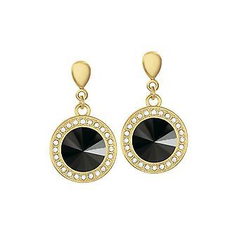 Eternal Collection Viva Jet Black Autrichien Crystal Gold Tone Drop Boucles d'oreilles percées