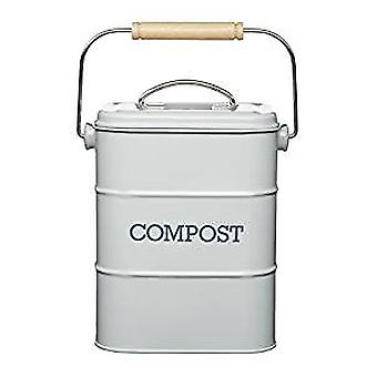 Retro Style Lidded Grey Compost Bucket | Gifts From Handpicked