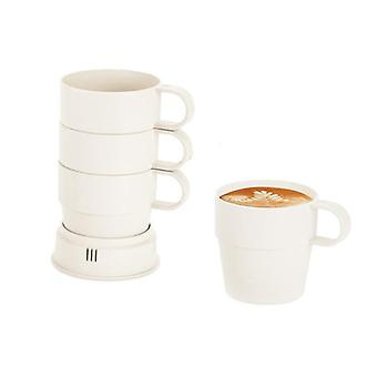 Set of 4 cups in bamboo fiber-white