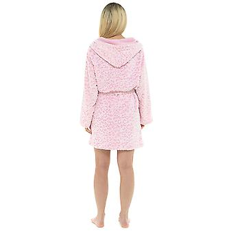 Dames Luipaard capuchon design fleece badjas Kamerjas