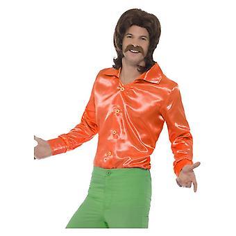 Mens oranje 70s Shirt Fancy Dress accessoire