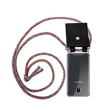 Cadorabo telefonkjede tilfelle for Samsung Galaxy J5 2017 tilfelle tilfelle deksel - silikon halskjede cape tilfelle med sølv ringer - ledningbånd ledning og flyttbar tilfelle beskyttende etui