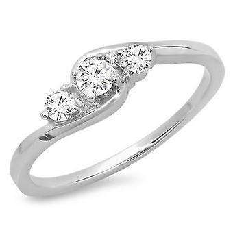 Dazzlingrock Collection 0.25 Carat (ctw) 10K Round Cut Diamond Ladies Bridal 3 Stone Engagement Ring 1/4 CT, White Gold