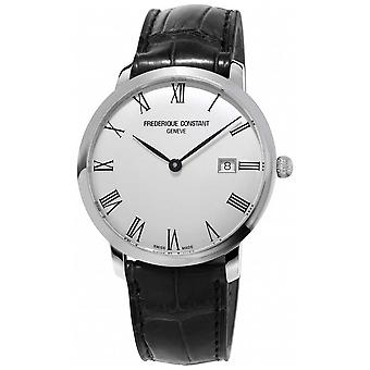 Frederique Constant Mens | Slimline | Automatic | Black Leather | Silver Dial FC-306MR4S6 Watch