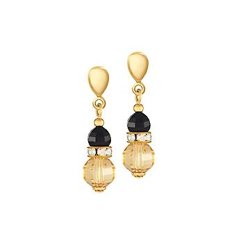 Eternal Collection Celebration Topaz And Black Crystal Gold Tone Drop Screw Back Clip On Earrings