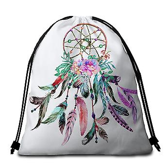 Multi Colored Feathers Dream Catcher Beach Towel