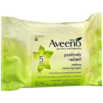 Aveeno positively radiant makeup removing wipes, 25 ea