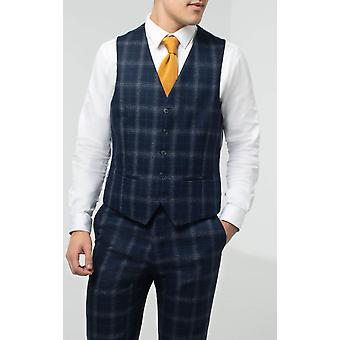 Dobell Mens Navy Waistcoat Regular Fit Windowpane Check