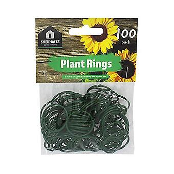Packs of 100 Shedmates GS100PR Plastic Coated Wire Garden Plant Rings - 25mm Diameter - Flexible, Twisty Plant Supports.