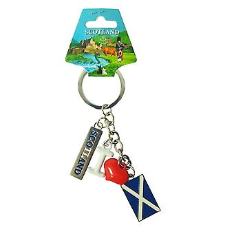 EastWest Keyring - Charm Scotland Flag And Red Heart
