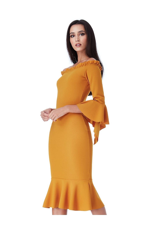 Goddiva Mustard Bardot With Frill Detail Midi Dress