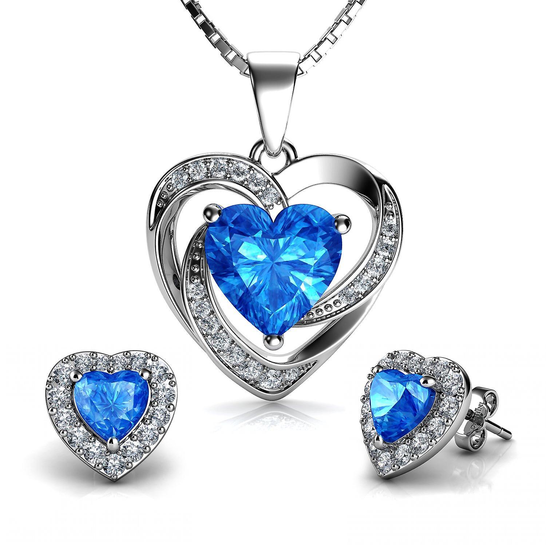 Heart jewellery set aqua heart necklace & heart earrings dephini