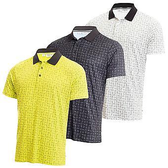 Calvin Klein Mens 2021 Geo CK Breathable Wicking Short Sleeve Golf Polo Shirt