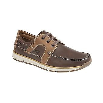 Roamers Brown Leather 3 Eye Apron Moccasin Leisure Shoe