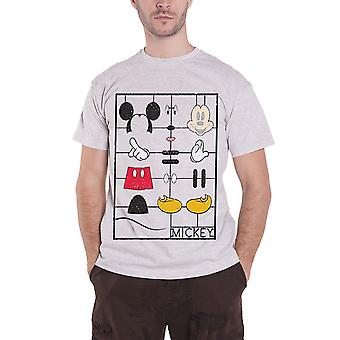 Official Mens Mickey Mouse T Shirt Construction Kit Disney logo new Heather Grey