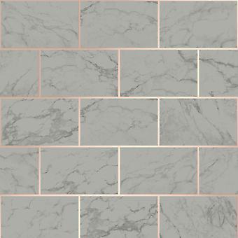 Metro Brick Marmor Tapet Charcoal Crown M1511
