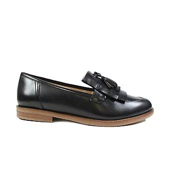 Caprice 24204 Black Leather Womens Slip On Loafer Shoes
