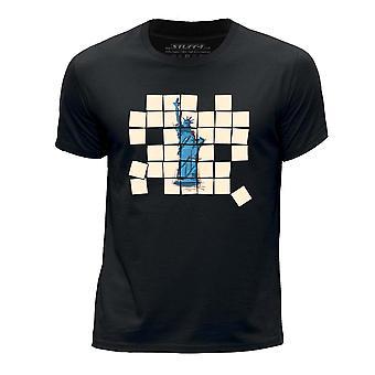 STUFF4 Chłopca rundy szyi koszulka/stary mozaika/wolności/czarny